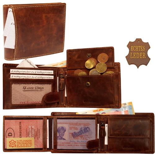 Herren Leder Geldbörse Geldbeutel Portemonnaie Hochformat Harold´s braun 5464